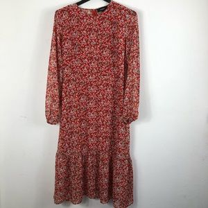 AaKaa Boho floral maxi dress long sleeves size L